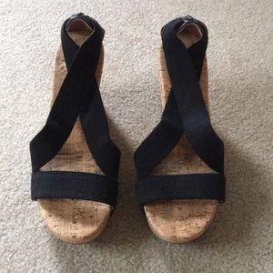 Shoes - BLACK CORK WEDGES SIZR 8 1:2